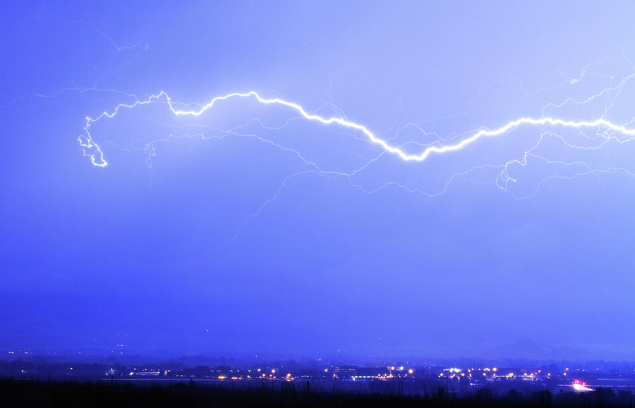 Lightning Over North Boulder Colorado - Cropped Photograph  - Lightning Over North Boulder Colorado - Cropped Fine Art Print