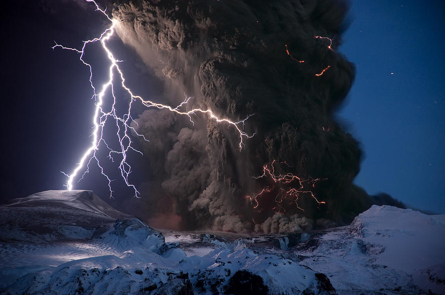 Lightning Pierces The Erupting Photograph