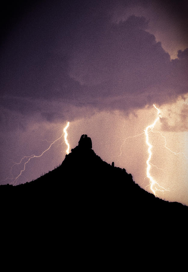 Lightning Storm At Pinnacle Peak Arizona Photograph  - Lightning Storm At Pinnacle Peak Arizona Fine Art Print