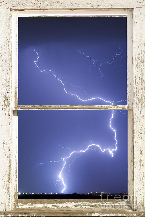 Lightning Strike White Barn Picture Window Frame Photo Art  Photograph  - Lightning Strike White Barn Picture Window Frame Photo Art  Fine Art Print