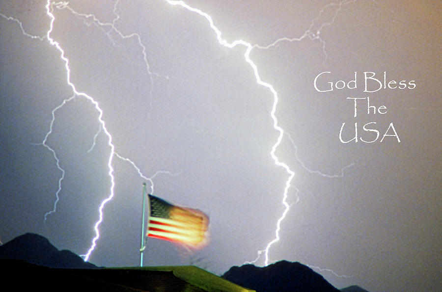 Lightning Strikes God Bless The Usa Photograph