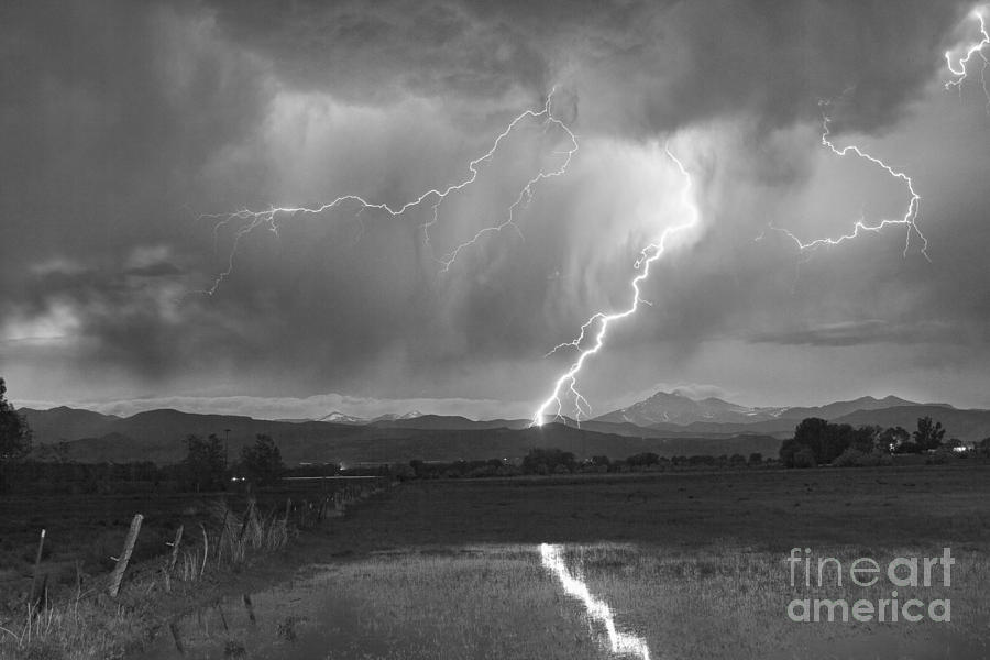 Lightning Striking Longs Peak Foothills 2bw Photograph  - Lightning Striking Longs Peak Foothills 2bw Fine Art Print