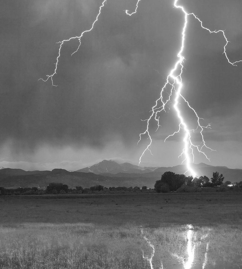 Lightning Striking Longs Peak Foothills 5bw Crop Photograph  - Lightning Striking Longs Peak Foothills 5bw Crop Fine Art Print