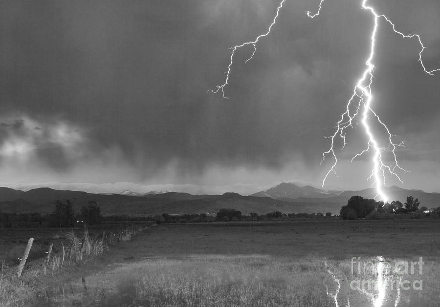 Lightning Striking Longs Peak Foothills 5bw Photograph