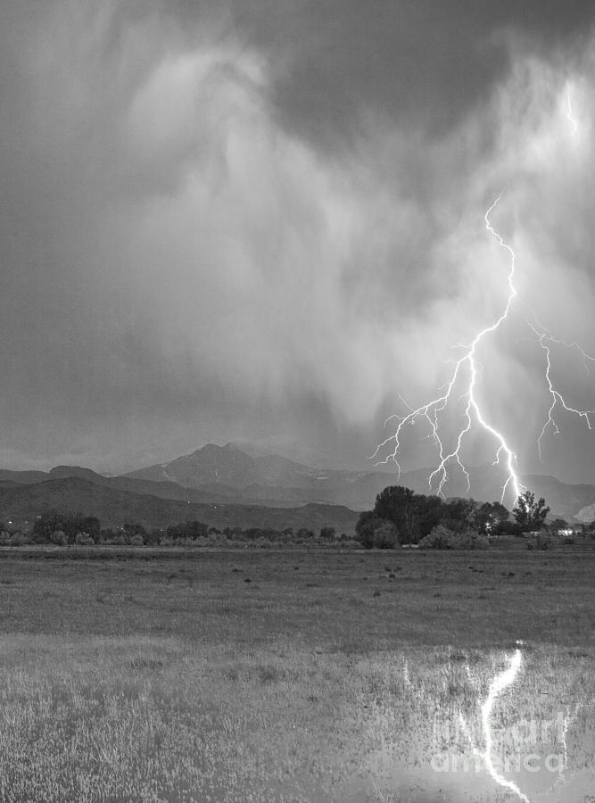 Lightning Striking Longs Peak Foothills 7cbw Photograph