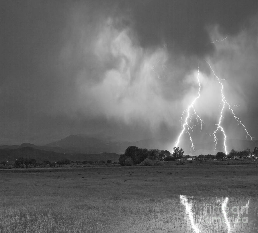 Lightning Striking Longs Peak Foothills 8cbw Photograph  - Lightning Striking Longs Peak Foothills 8cbw Fine Art Print