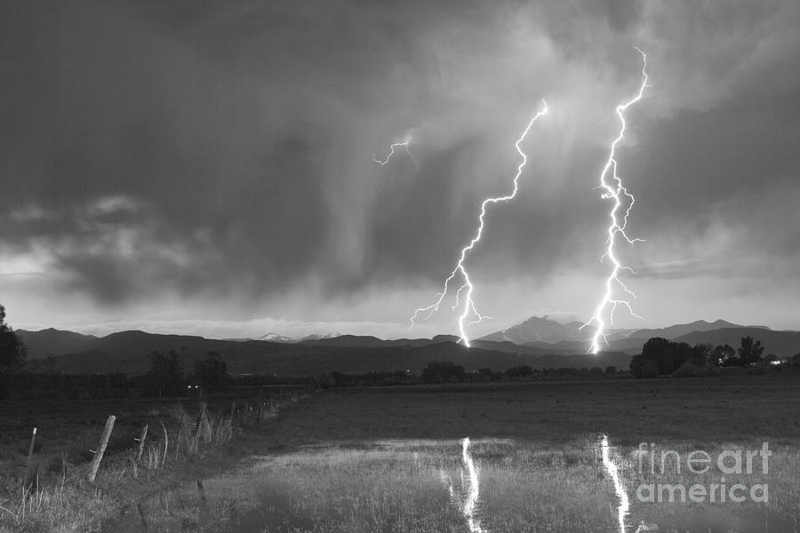 Lightning Striking Longs Peak Foothills Bw Photograph