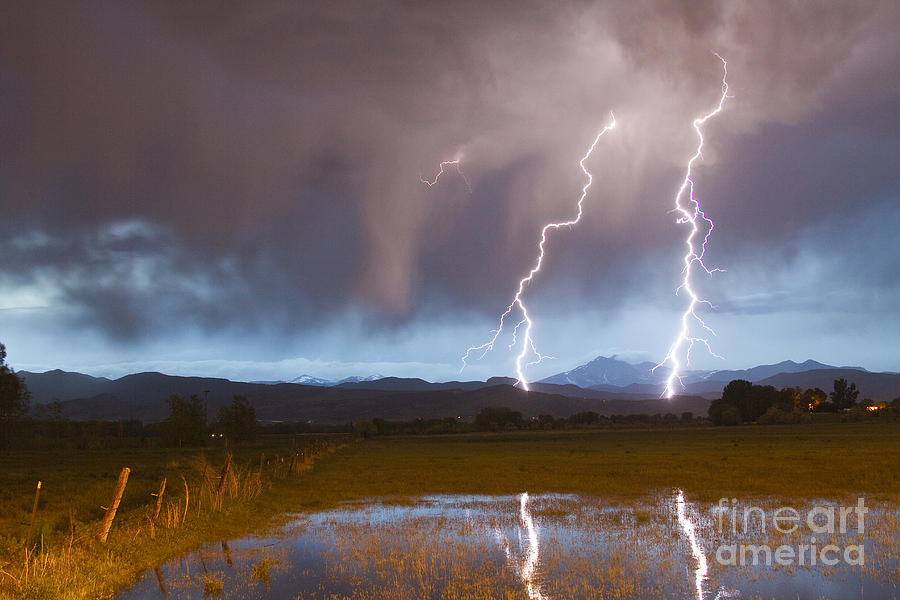 Lightning Striking Longs Peak Foothills Photograph