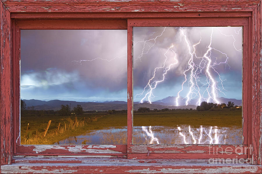 Lightning Striking Longs Peak Red Rustic Picture Window Frame Photograph  - Lightning Striking Longs Peak Red Rustic Picture Window Frame Fine Art Print