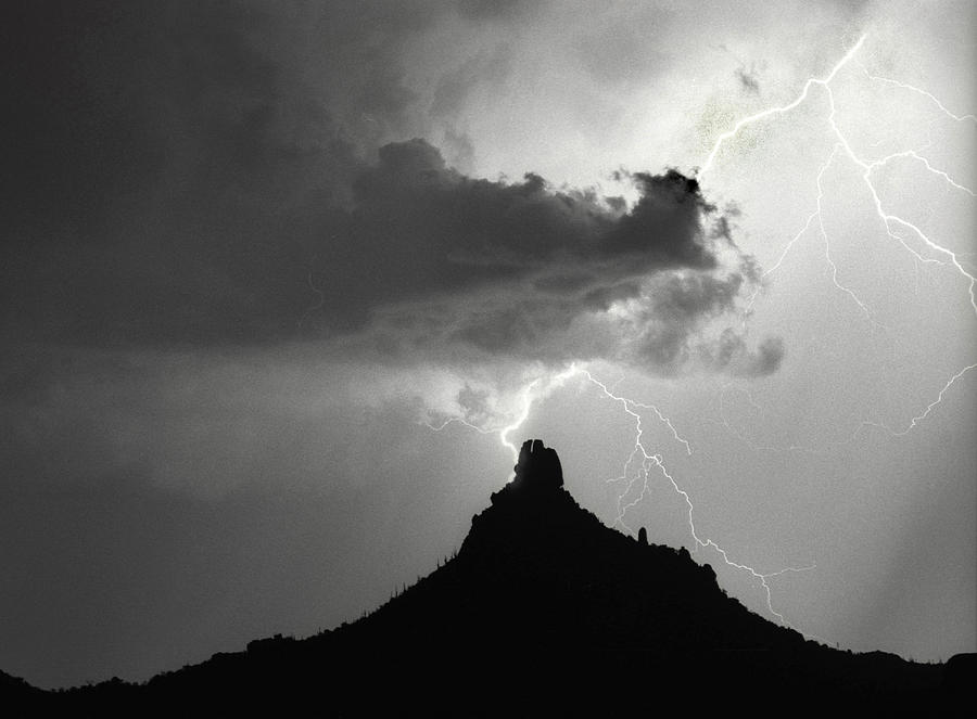 Lightning Striking Pinnacle Peak Arizona Photograph