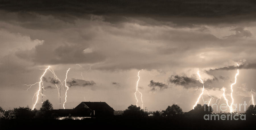 Lightning Thunderstorm July 12 2011 Strikes Over The City Sepia Photograph  - Lightning Thunderstorm July 12 2011 Strikes Over The City Sepia Fine Art Print