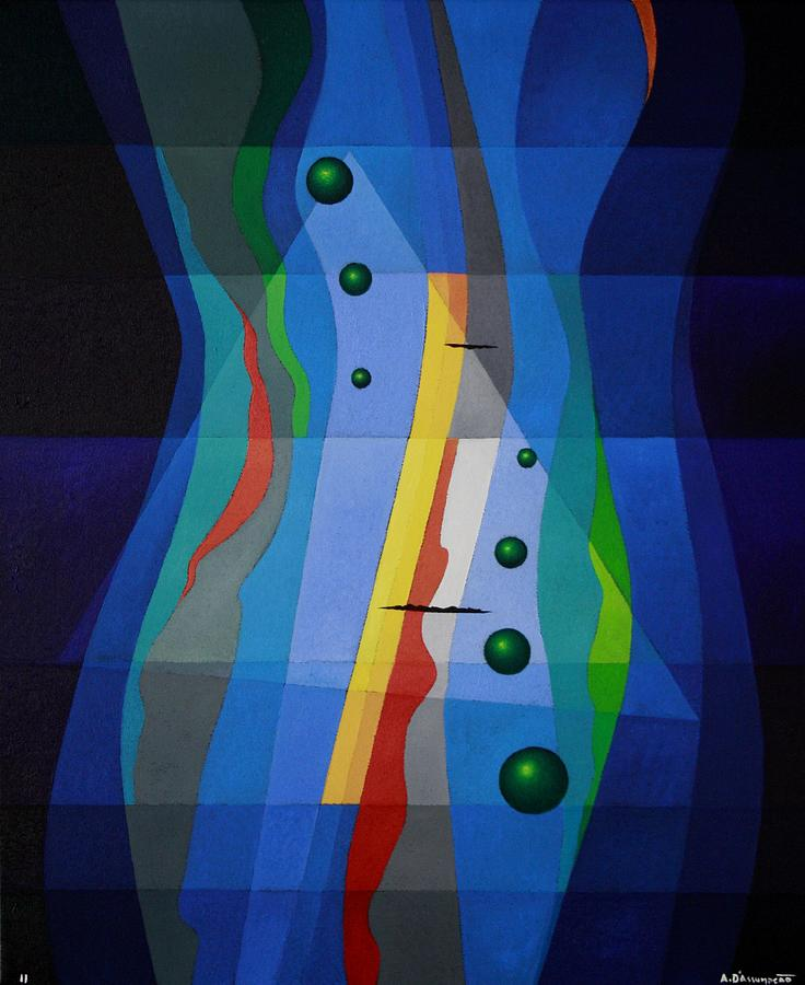 Abstract Painting - Like A River by Alberto D-Assumpcao