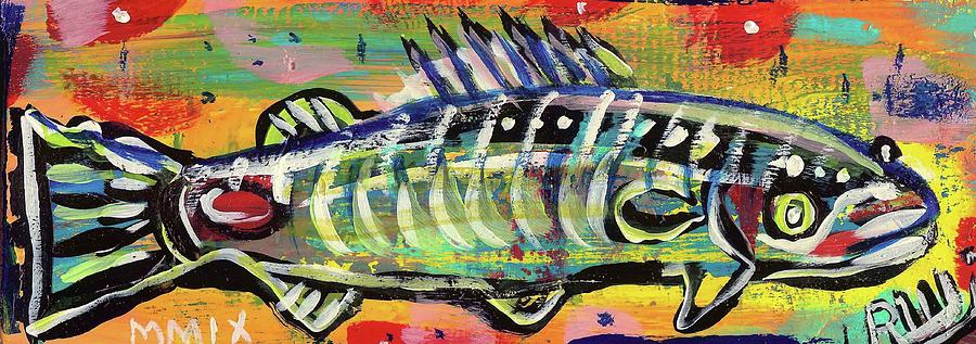 Lil Funky Folk Fish Number Ten Painting  - Lil Funky Folk Fish Number Ten Fine Art Print