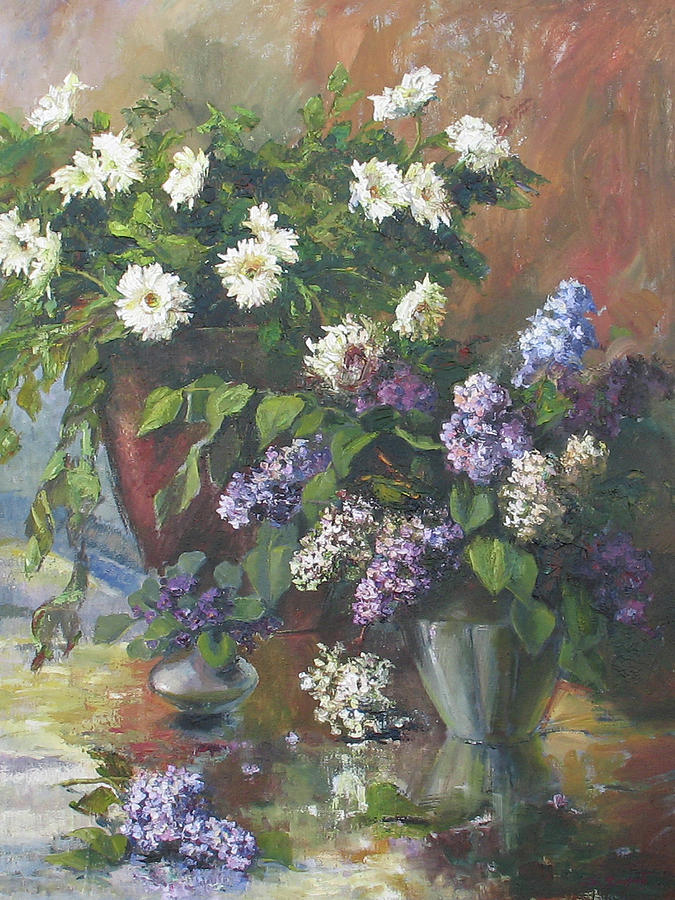 Lilacs And Asters Painting  - Lilacs And Asters Fine Art Print