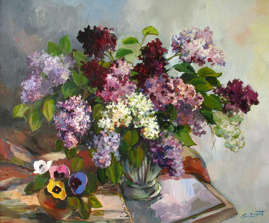 Lilacs And Pansies Painting