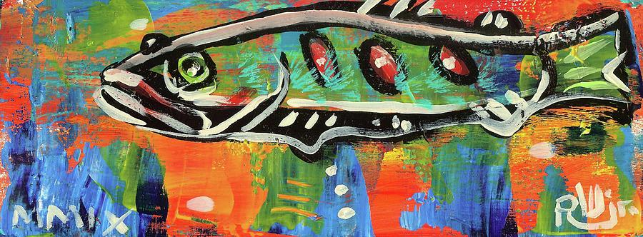 Lilfunky Folk Fish Number Fifteen Painting  - Lilfunky Folk Fish Number Fifteen Fine Art Print