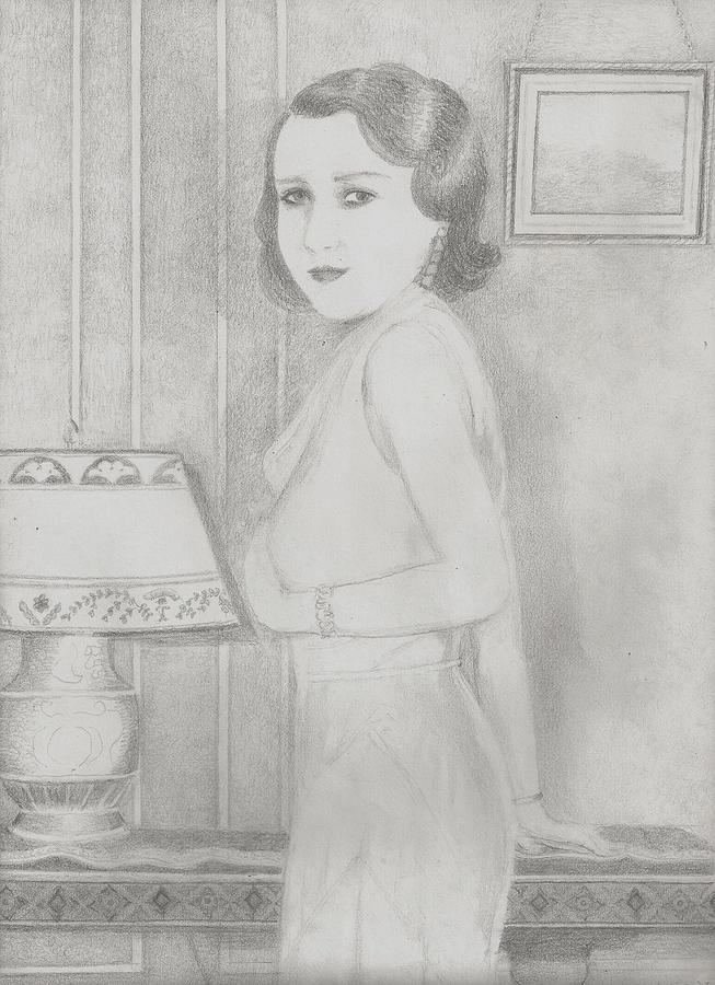 Pencil Portrait Of Woman From Old Photograph. Drawing - Lillian by Jami Cirotti