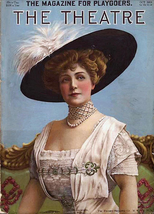 Lillian Russell Cover Magazine Playgoers Theatre Actress Singer 1860 1922 Painting - Lillian Russell On Cover by Steve K