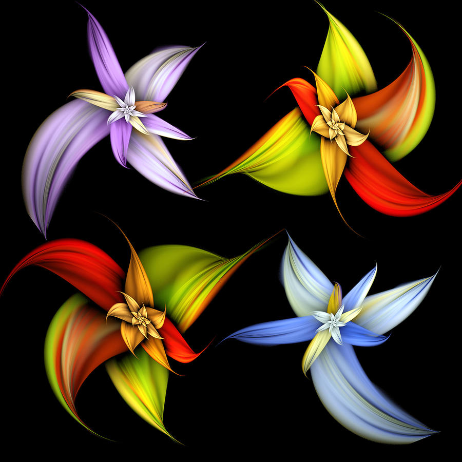 Abstract Digital Art - Lilly Montage by Pam Blackstone