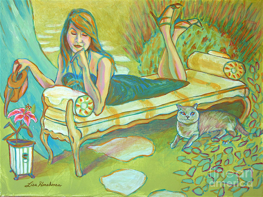 Chaise Lounge Painting - Lillys No Stargazer by Lisa Hershman