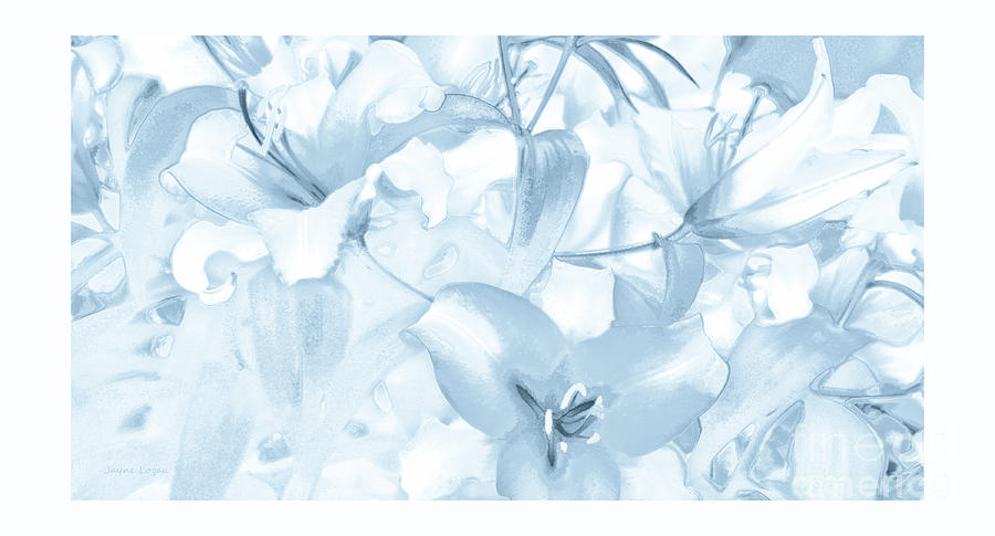 Lily Garden Blue Digital Art