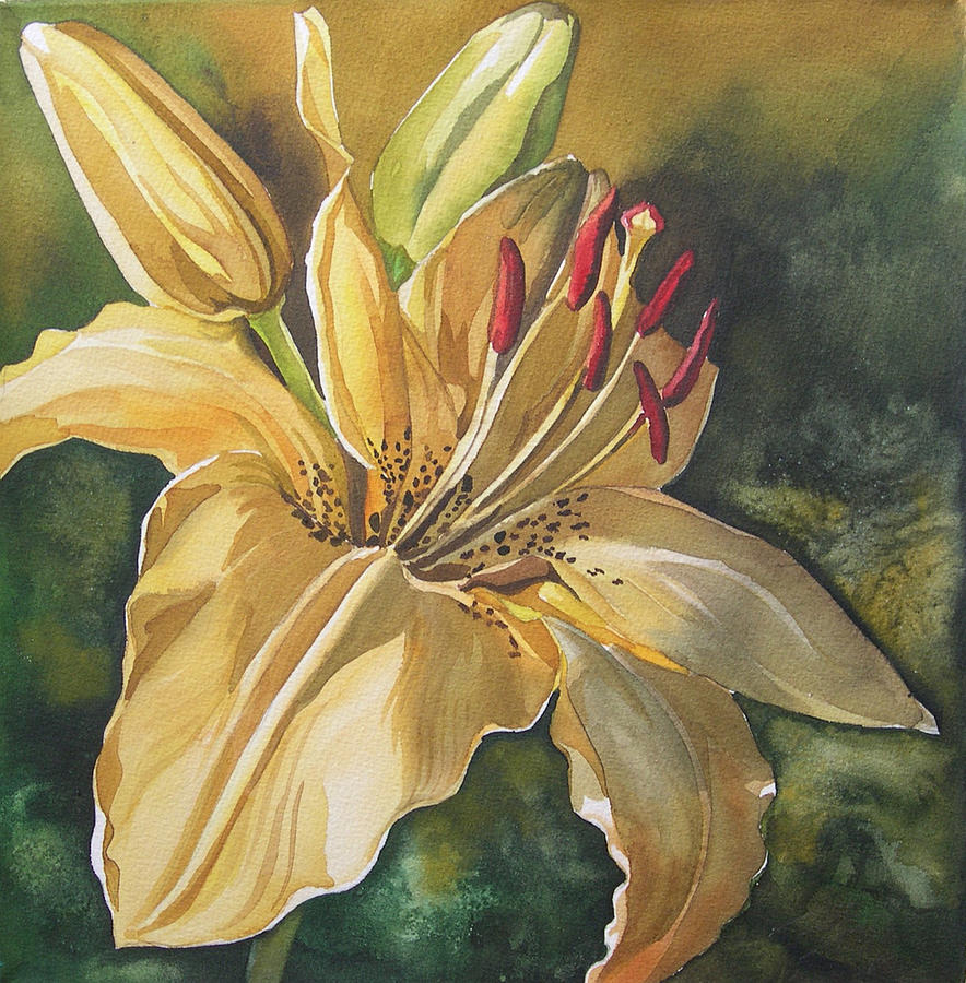 Lily In Yellow Painting  - Lily In Yellow Fine Art Print