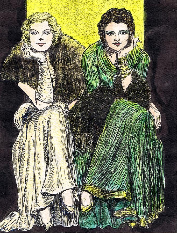 Lilyan And Kay Drawing  - Lilyan And Kay Fine Art Print