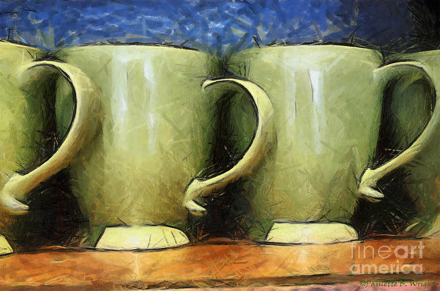 Lime Green Cups Painting  - Lime Green Cups Fine Art Print
