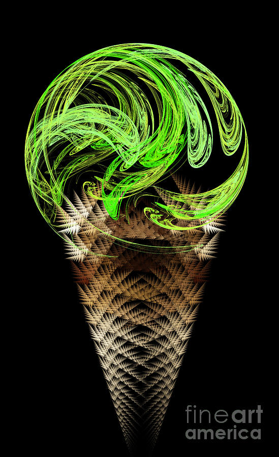 Lime Ice Cream Cone Digital Art  - Lime Ice Cream Cone Fine Art Print