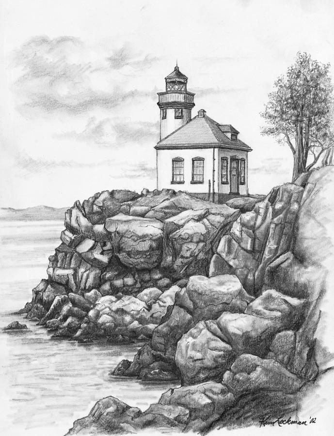 Lime Kiln Lighthouse Drawing  - Lime Kiln Lighthouse Fine Art Print