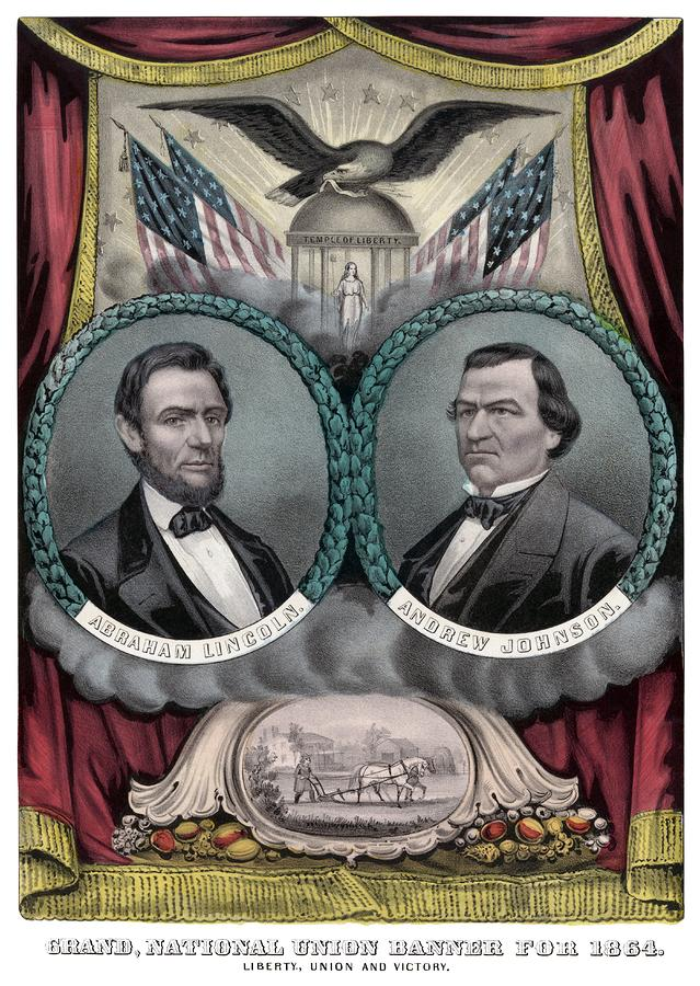 Lincoln And Johnson Election Banner 1864 Painting  - Lincoln And Johnson Election Banner 1864 Fine Art Print