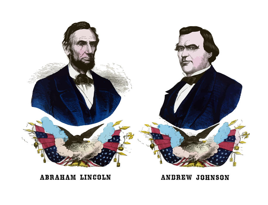 Lincoln And Johnson Painting  - Lincoln And Johnson Fine Art Print