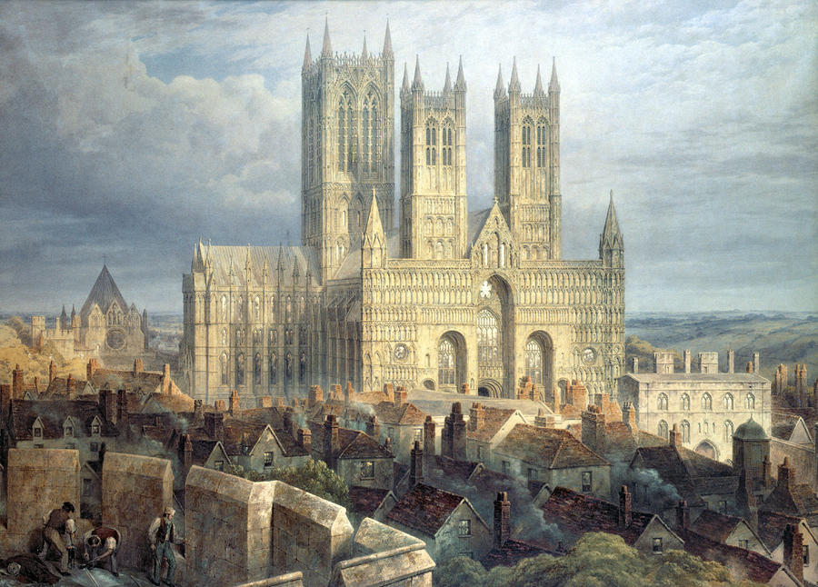Lincoln Cathedral From The North West Painting  - Lincoln Cathedral From The North West Fine Art Print