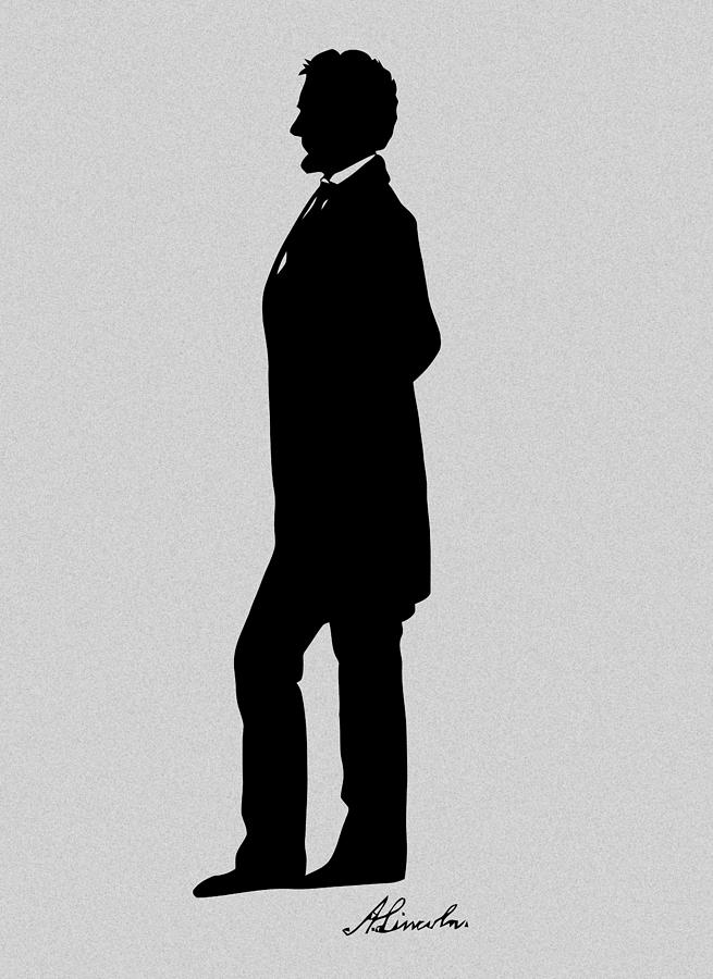 Lincoln Silhouette And Signature Digital Art  - Lincoln Silhouette And Signature Fine Art Print