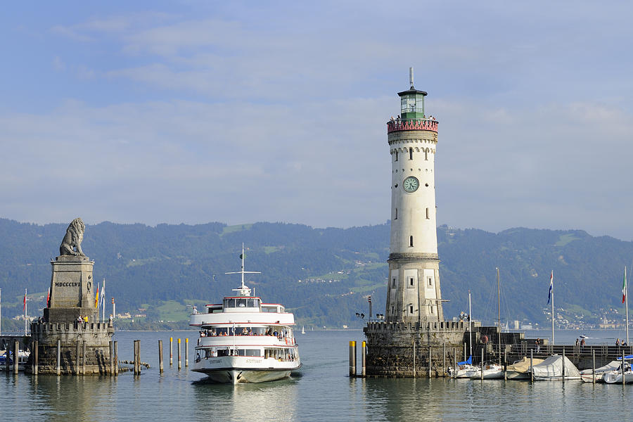 Lindau Harbor With Ship Bavaria Germany Photograph