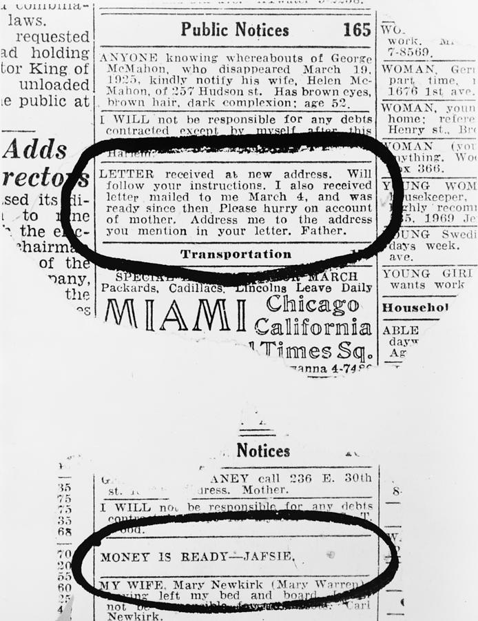 Lindbergh Baby Kidnapping. Two Notices Photograph