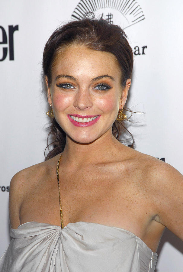 Lindsay Lohan Wearing Chanel Earrings Photograph