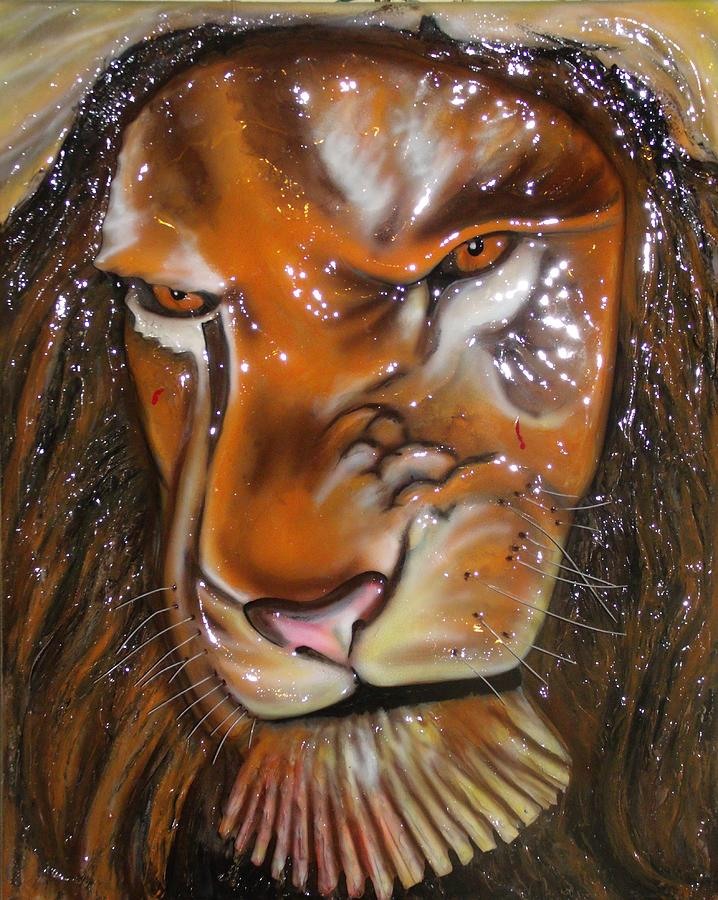 Painting - Lion 3-d Pop-out by Jamie Farley