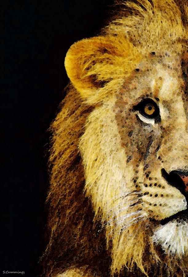 Lion Art - Face Off Painting  - Lion Art - Face Off Fine Art Print