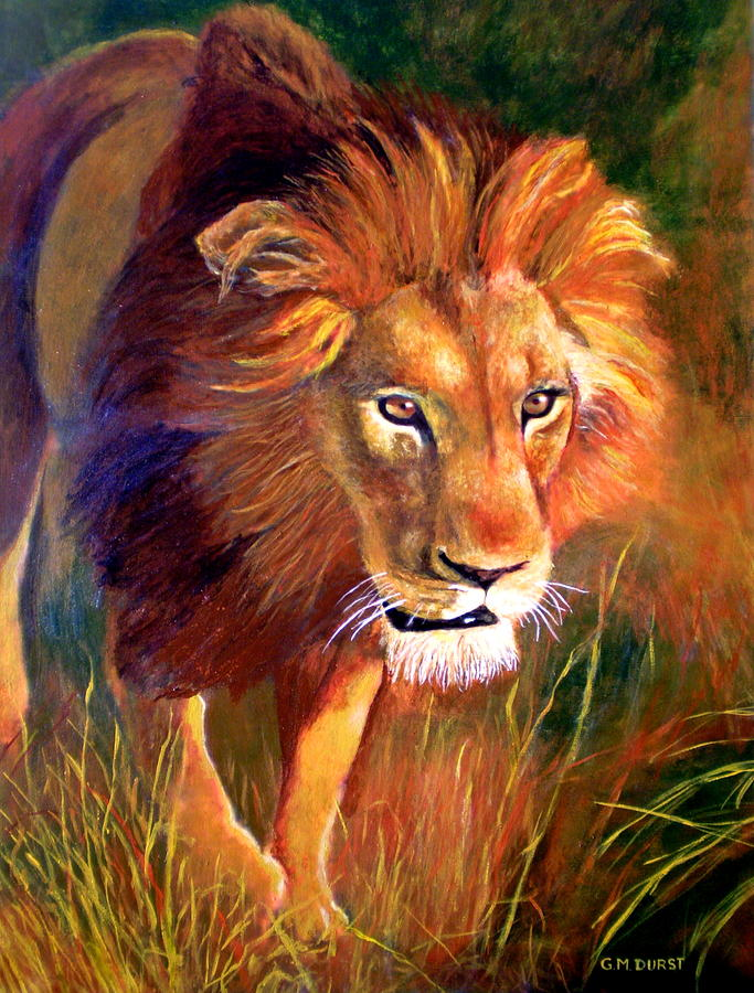 Lion At Sunset Painting