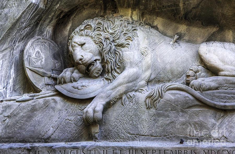 Lion Of Lucerne Switzerland By Anik Messier