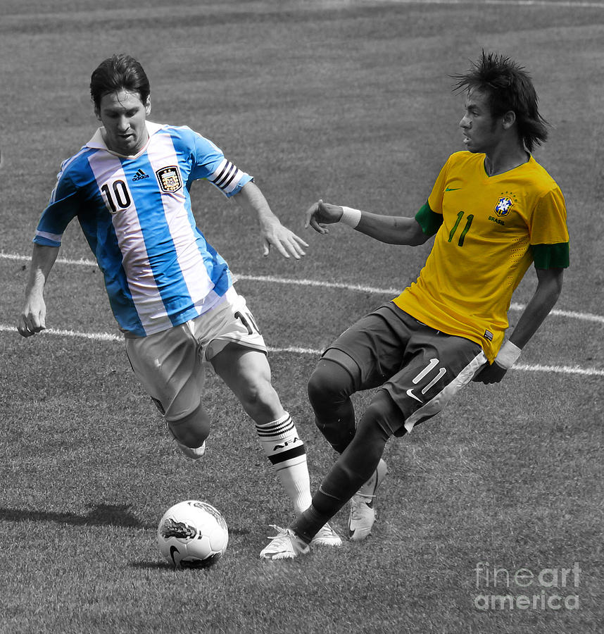 Lionel Messi And Neymar Clash Of The Titans At Metlife Stadium  Photograph  - Lionel Messi And Neymar Clash Of The Titans At Metlife Stadium  Fine Art Print