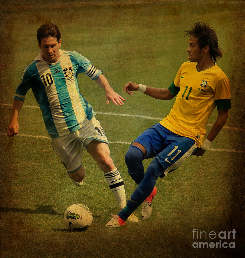 Lionel Messi And Neymar Junior Vintage Photo Photograph  - Lionel Messi And Neymar Junior Vintage Photo Fine Art Print