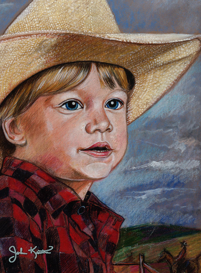 Little Cowboy Drawing  - Little Cowboy Fine Art Print
