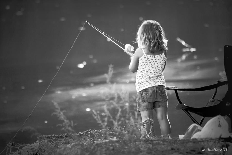 Little Fishing Girl Photograph  - Little Fishing Girl Fine Art Print