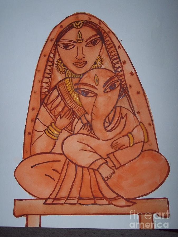Little Ganesh And Parvati Painting  - Little Ganesh And Parvati Fine Art Print