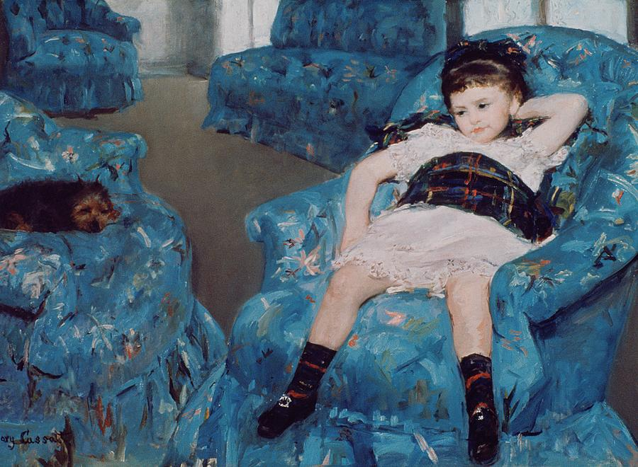 Little Girl In A Blue Armchair Painting  - Little Girl In A Blue Armchair Fine Art Print