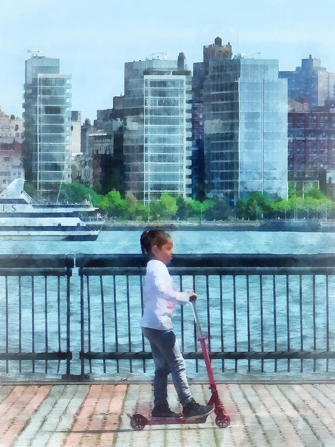 Little Girl On Scooter By Manhattan Skyline Photograph