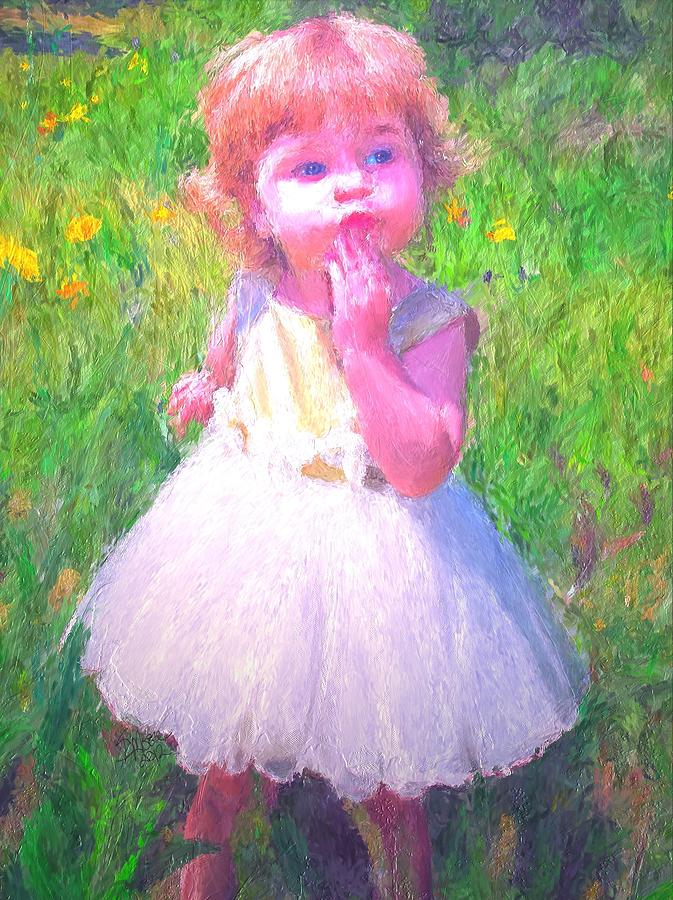 Little Girl Pink Painting  - Little Girl Pink Fine Art Print