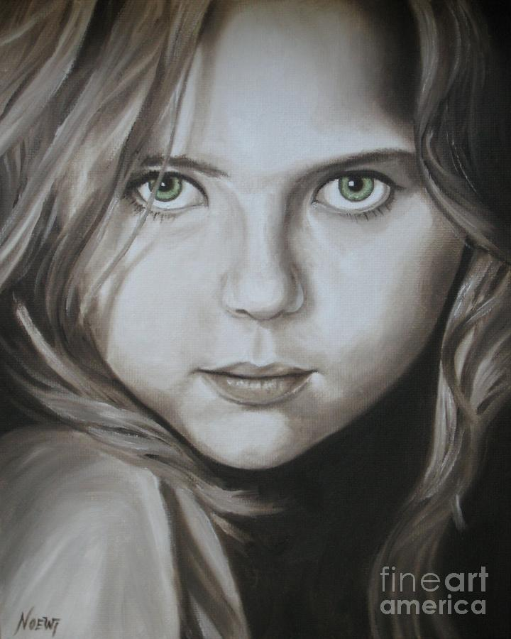 Little Girl With Green Eyes Painting